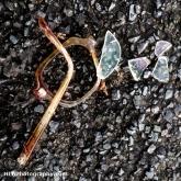 Broken glasses abandoned on a road